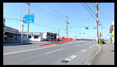 徳島駅方面よりお越しの方は橋の手前を左折写真